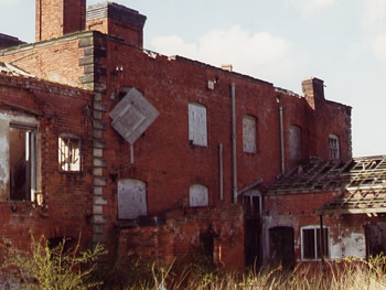 Image: The rear of the unrestored Clifton Hall.