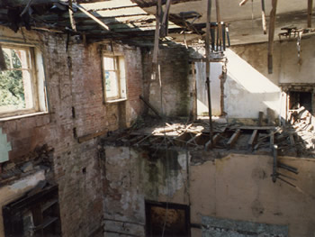 Image: The unrestored interior of Clifton Hall.